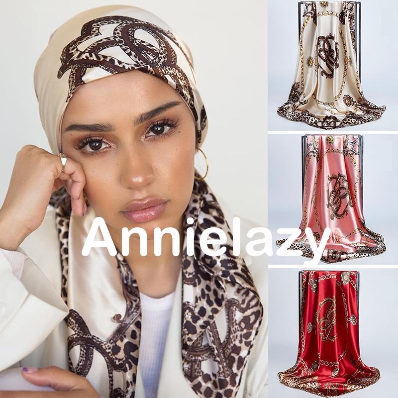 Square Silk Scarves Women 90*90cm Satin Hijab Scarf Muslim Female Chiffon Shawls And Wrap Hair Head