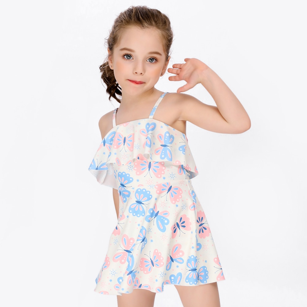 Children Dresses Girls One Piece Swimwear Dress Princess Butterfly Beachwear with Skirts Cute Sling Bathing Suits Summer Clothes