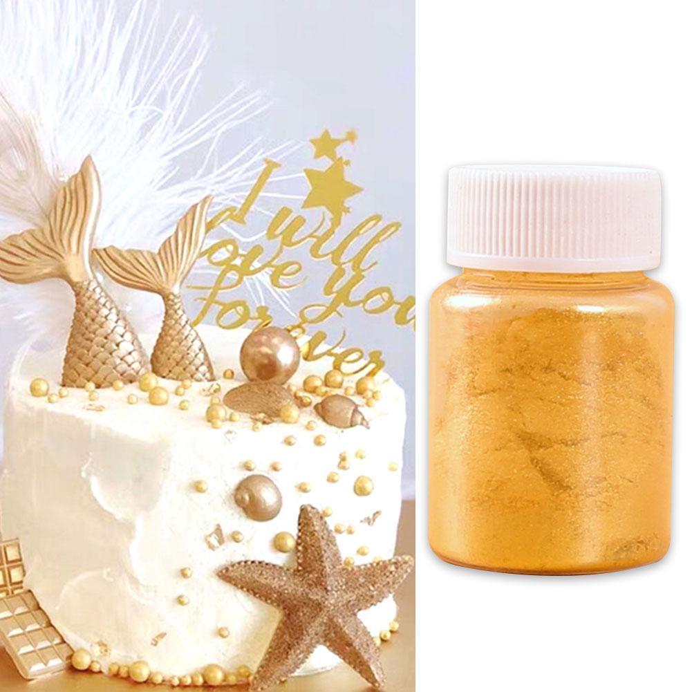 15g comestível decoração do bolo de aniversário ouro prata preto suprimentos cor comestível bolo em pó de cozimento doces em pó flash ef w2r7