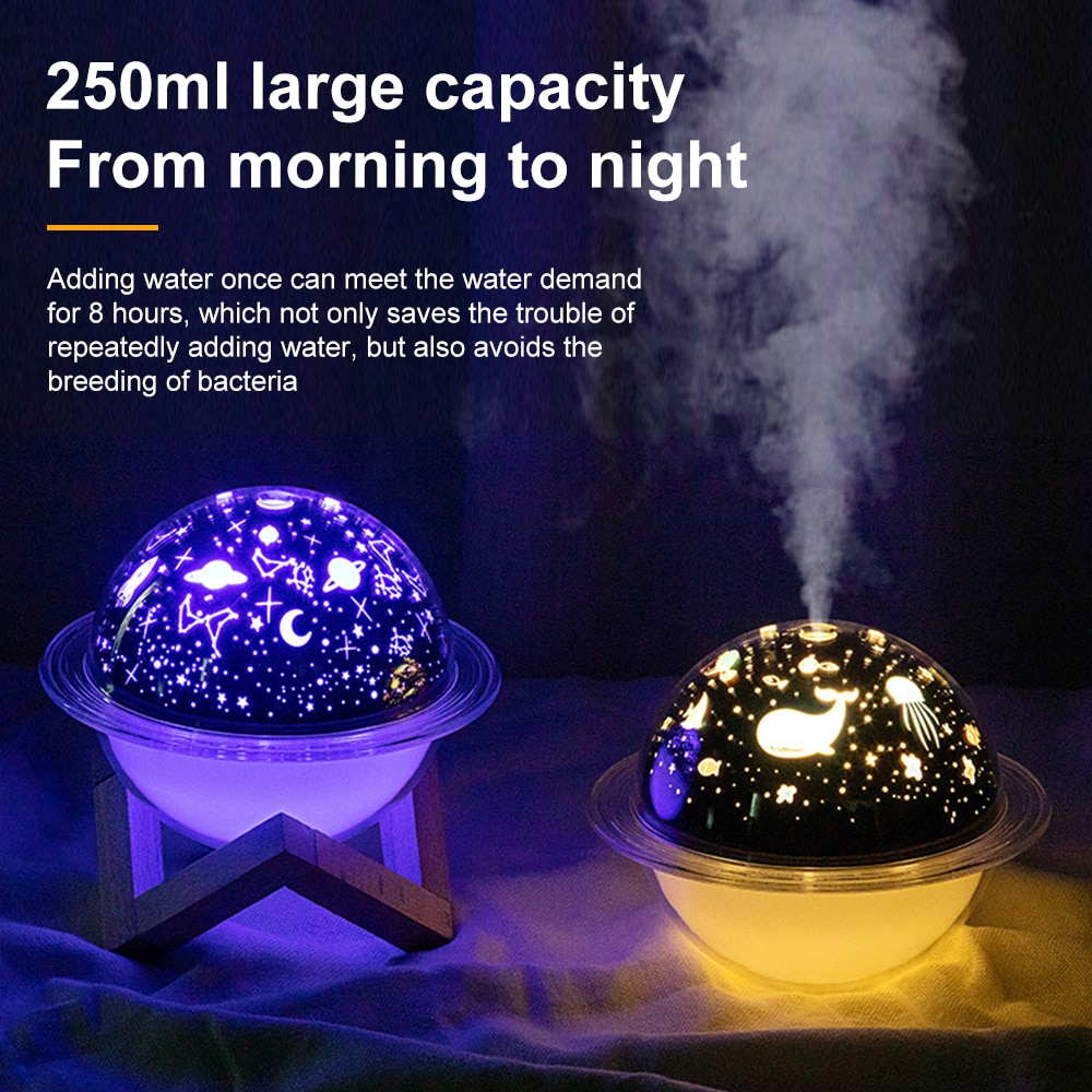 Led Starry Sky Ocean Christmas Projection Lamp Planet Humidifier USB Bedroom Living Room Decoration Lighting Atmosphere Lamp