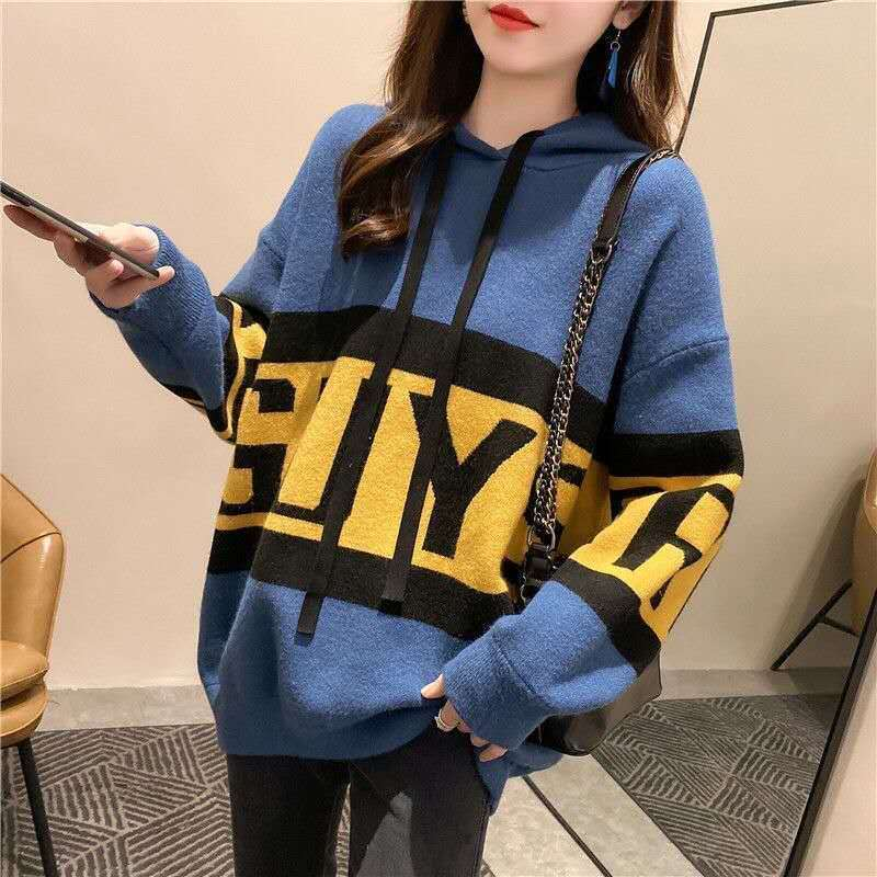 Фото - Loose lazy wind pullover sweater women 20 years new autumn fashion Korean students hooded knitted sweater women's coat fall winter sweater men thickened korean fashion personality sweater lazy pullover sweater coat