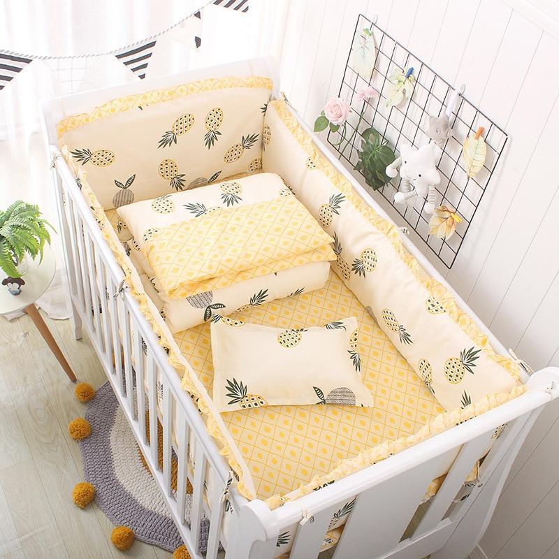 5pcs Baby Bed Bumper Infant Cot Protector Washable Cotton Bed Bedding Set Kids Crib Bumper 60*110cm  ZT33
