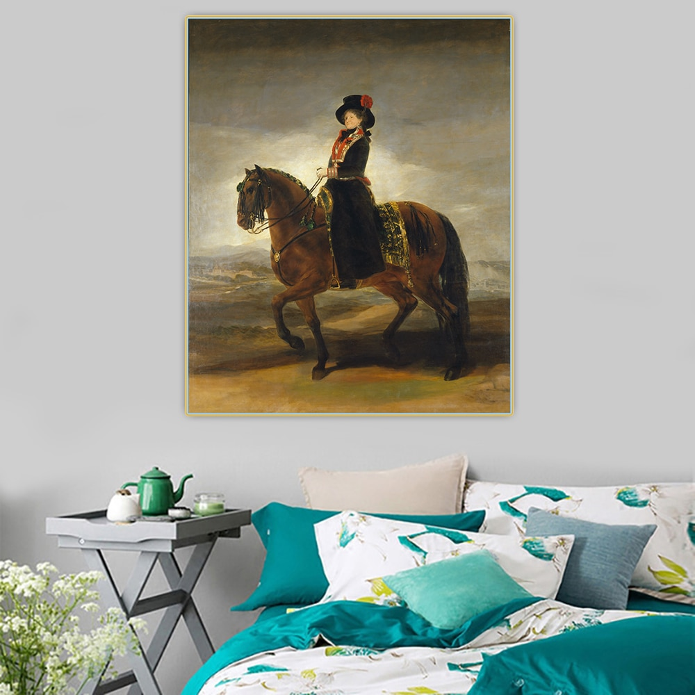 Holover-retrato ecuestre De Maria, Luisa De Parma, pintura al óleo De lienzo,...