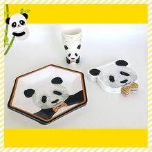 80PCS Panda Birthday Party Tableware Set Cartoon Bamboo Drinking Straws Panda Balloons Cup Napkins Cupcake Topper Event Party