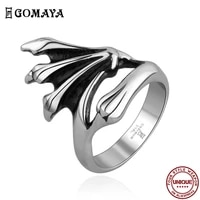 goamya 316l stainless steel rings claw gothic vintage rock punk ring for men and women wedding fashion jewelry gift hot selling