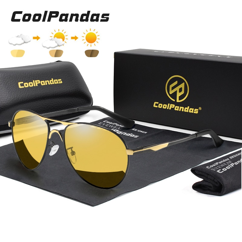 2021 New Trend Intelligent Aviation Photochromic Sunglasses Polarized Men Day Night Vision Driving S