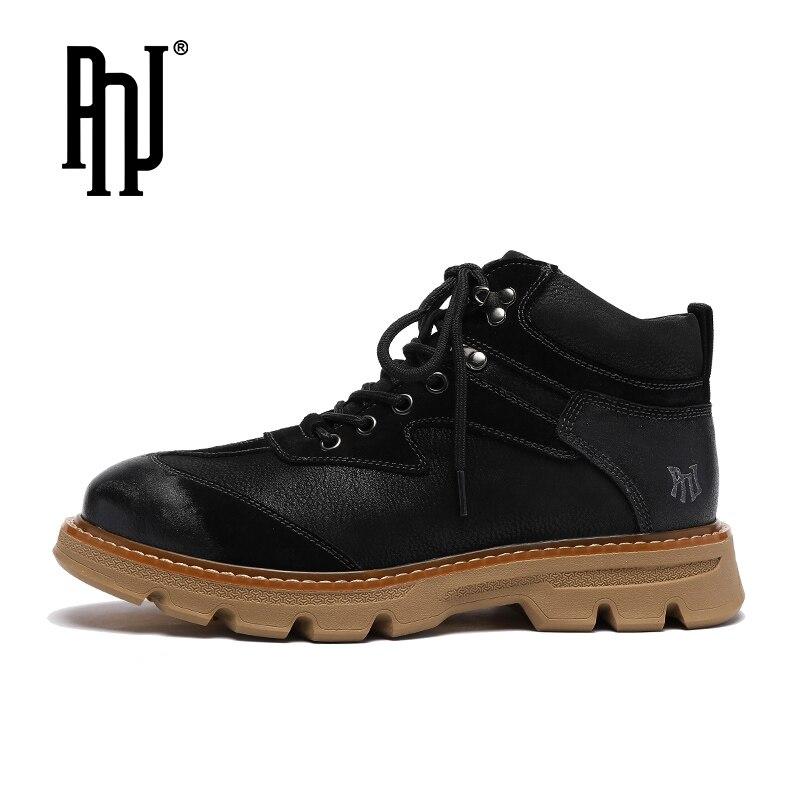 Ботинки-мартинсы PNJ мужские осенние британские ветрозащитные сапоги мужские осенние кожаные мужские кожаные ботинки в стиле ретро мужская ...