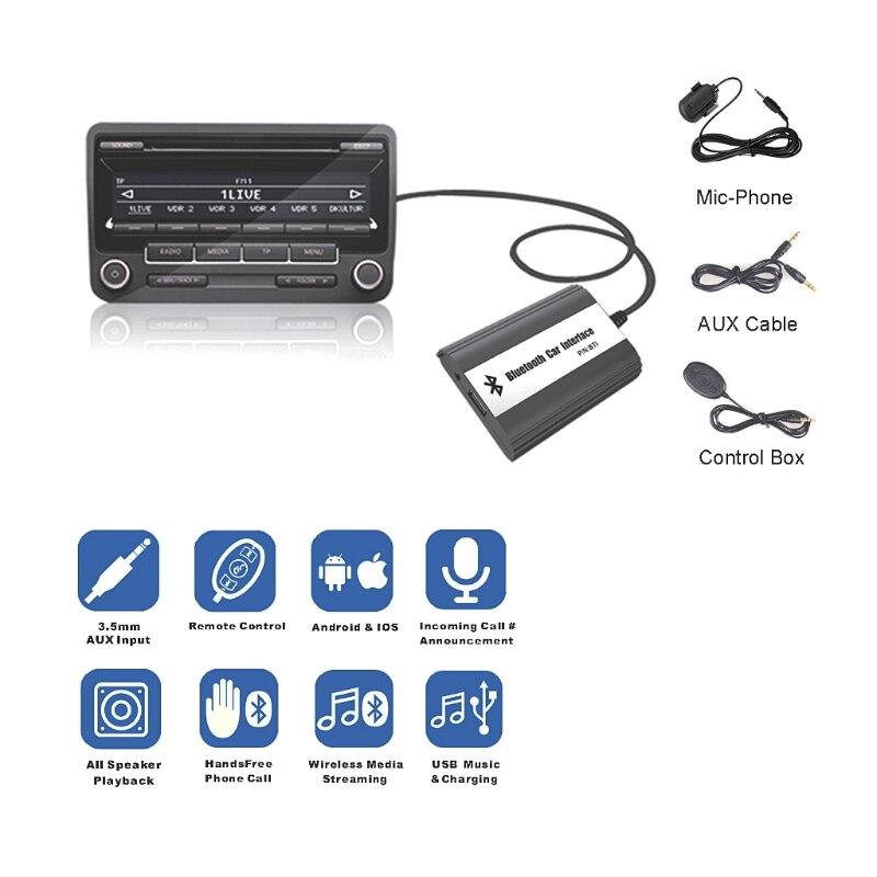 Kits mãos livres Bluetooth Carro MP3 12PIN AUX Adaptador de Interface Para VW Audi Skoda