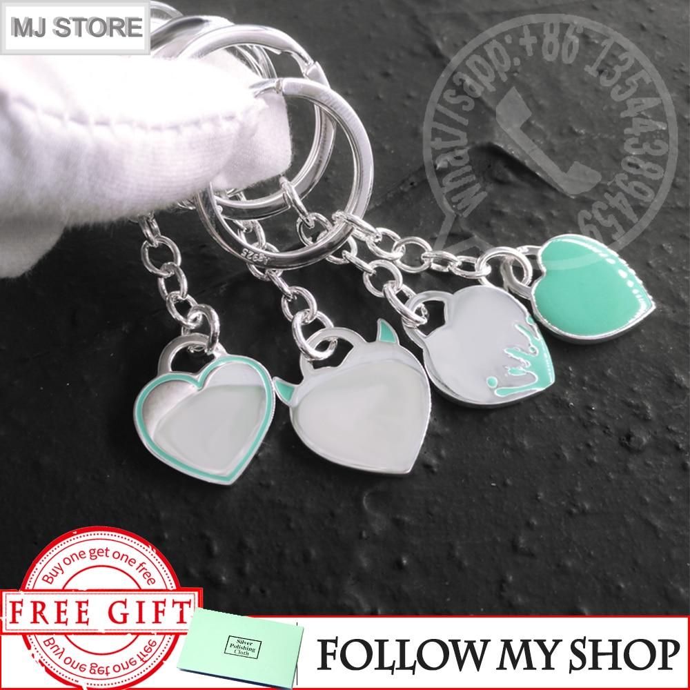 S925 Sterling Silver Jewelry Accessories Original 1:1 Return To T Blue enamel Silver Heart Charm Keychain Luxury Brand Jewelry