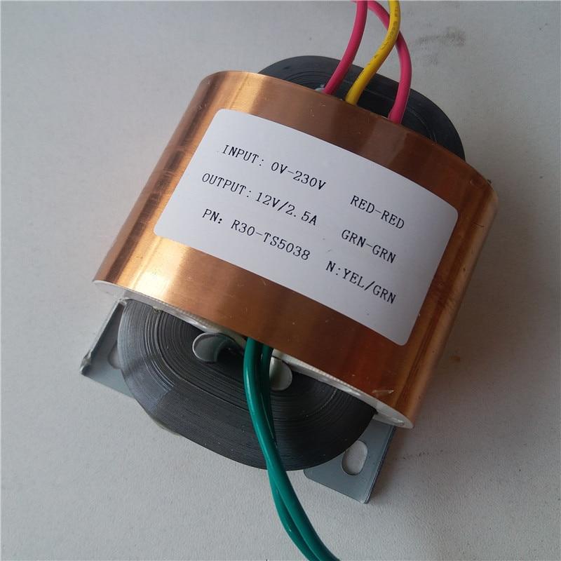 Transformador de núcleo 12V 2.5A R 30VA R30 transformador personalizado 220V/230V Escudo de cobre de entrada para predecodificador amplificador de potencia