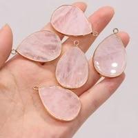 rose quartz natural pendant semi precious stones drop shaped gilt edge charm for jewelry making diy necklace accessories 26x40mm