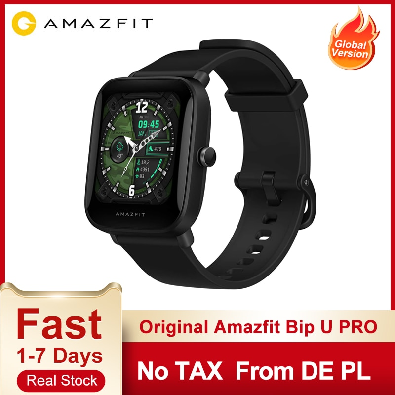 Original Amazfit Bip U Pro 1.43 inch 50 Watch Faces Color Screen GPS Smart watch 5 ATM 60+ Sports Mode Heart Rate Tracking