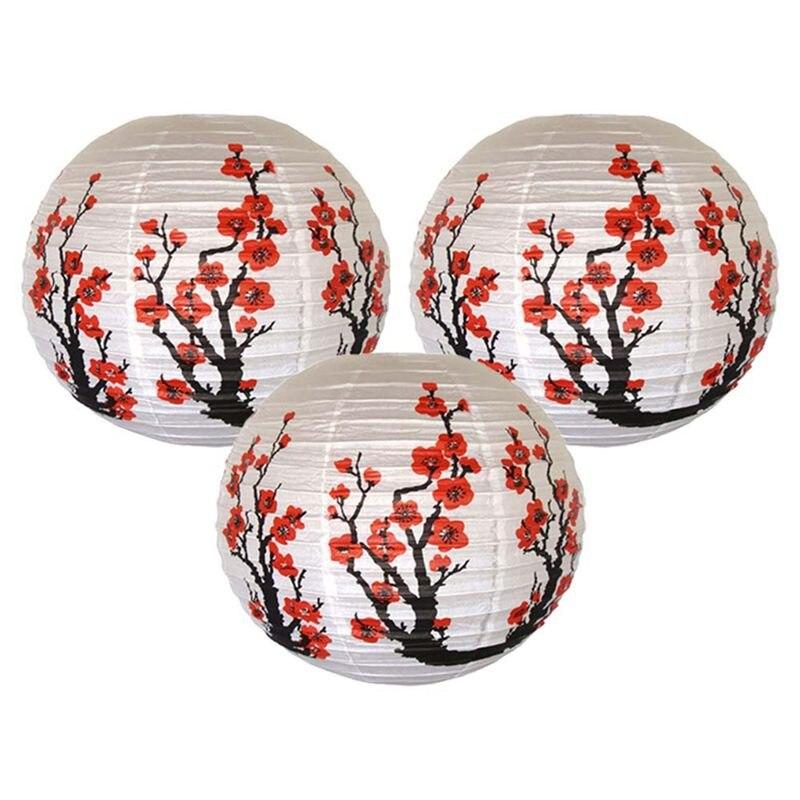 Conjunto de 3 vermelho sakura (cereja) flores cor branca chinês/japonês papel lanterna/lâmpada 16 polegada de diâmetro, conjunto de 3