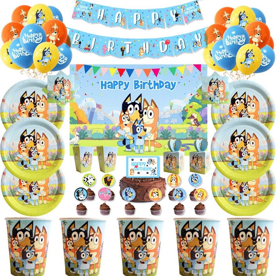 Горячая Распродажа, мультяшный бинго Bluey, технические украшения, Детская одноразовая посуда, набор для детской вечеринки, товары для декора