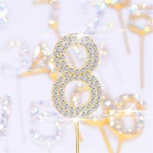 5Pc paillettes alliage strass numéro décoration de gâteau bébé douche anniversaire décoration mariage or argent numérique gâteaux Dessert décor