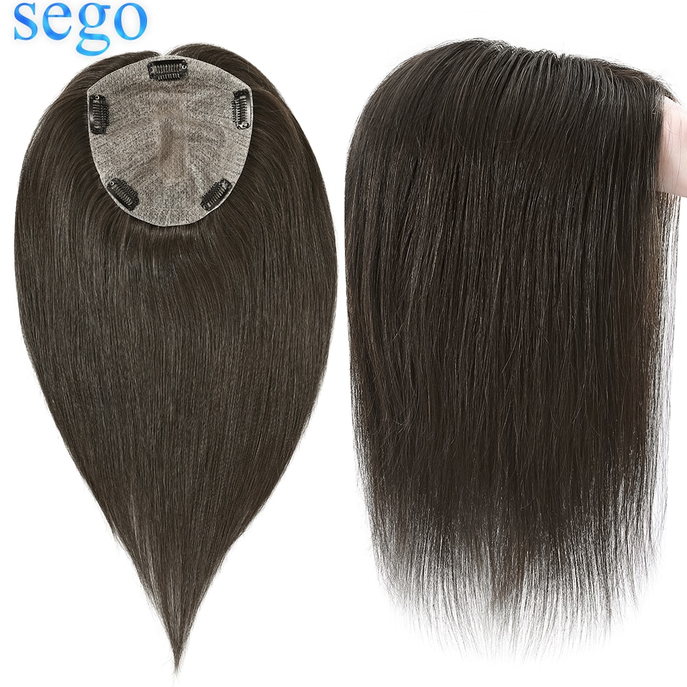 SEGO 15x16cm Silk Base Hair Topper Remy Human Hair Wig Clip In Hair Piece for Women Crown Toupee Natural Hairline