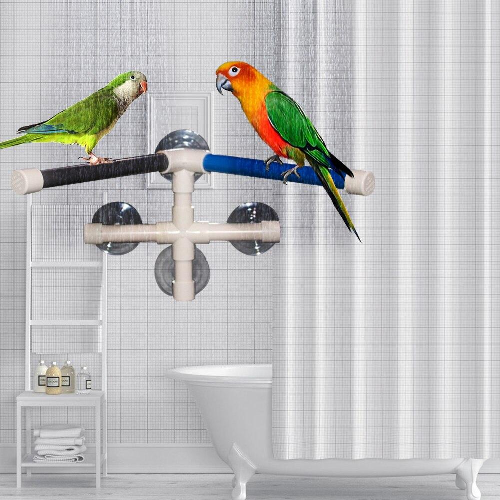 Percha portátil plegable para exteriores, accesorios para mascotas, jardín, sala de estar, con ventosa, Pájaro de juguete, soporte de baño, estante de plataforma de Ducha