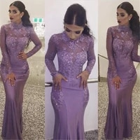 mermaid applique trumpet floor length beaded formal dresses new prom party gown evening dress long sleeve high neck