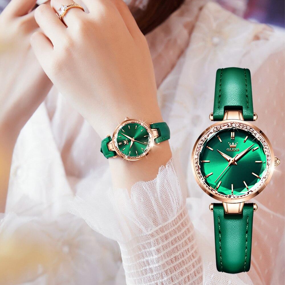OLEVS NEW Japan Lmported Movement Green Dial Genuine Leather Strap Elegant Temperament Quartz Wrist