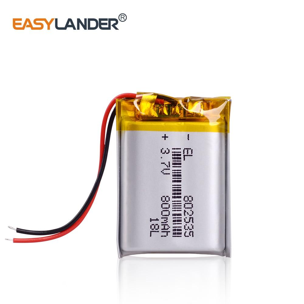 CE Rohs para auriculares Bluetooth 800mAh 3,7 V 802535 polímero de litio li-po batería Bluetooth columna DVR altavoz portátil