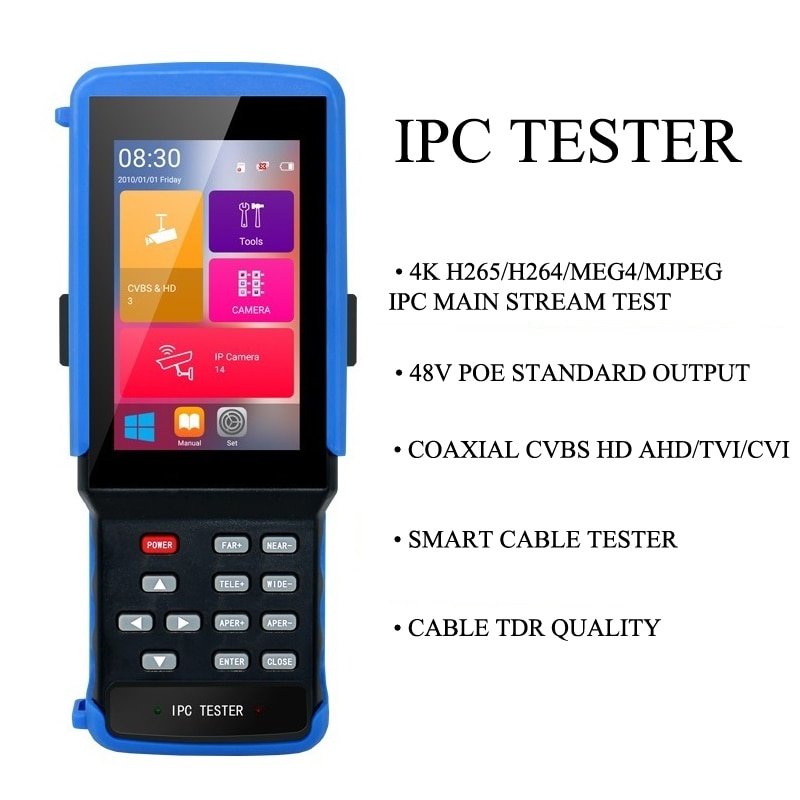 IPC 9310 POE  wifi 4.3'' 5 in one Touchscreen CCTV Tester for IPC/Analog Camera,IPC 8MP, 5MPAHD,CVI,TVI,BNC Network Cable Tester enlarge
