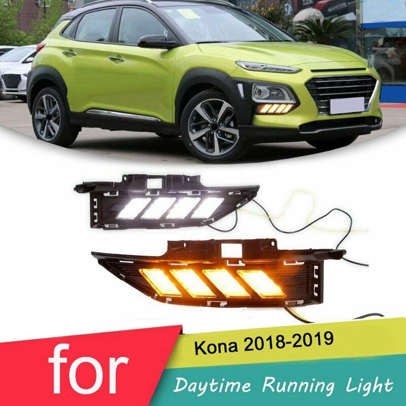 مصباح أمامي LED DRL لهيونداي كونا 2018-2019 ، ضوء وامض نهاري ، مصباح ضباب ، 3 ألوان