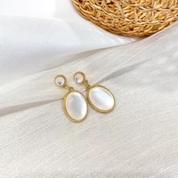 ustar new white opals drop earrings for women vintage oval dangle earrings accessories fashion party jewelry gifts