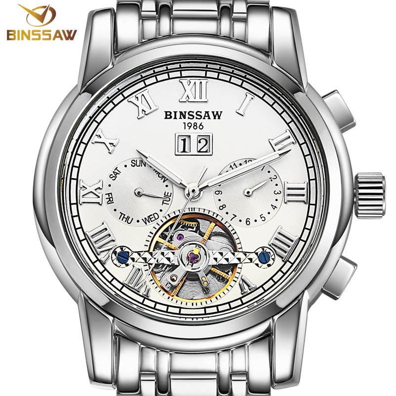 BINSSAW, relojes mecánicos automáticos para hombres, marca de lujo, moda Tourbillon, reloj deportivo de negocios de acero inoxidable, reloj Masculino