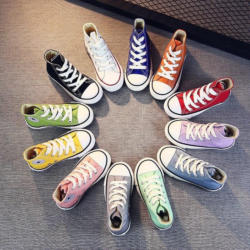 Meninas sapatos de lona crianças clássico alta superior da menina do menino sapatos lona estudante rendas até tênis para meninos novos sapatos da criança h08