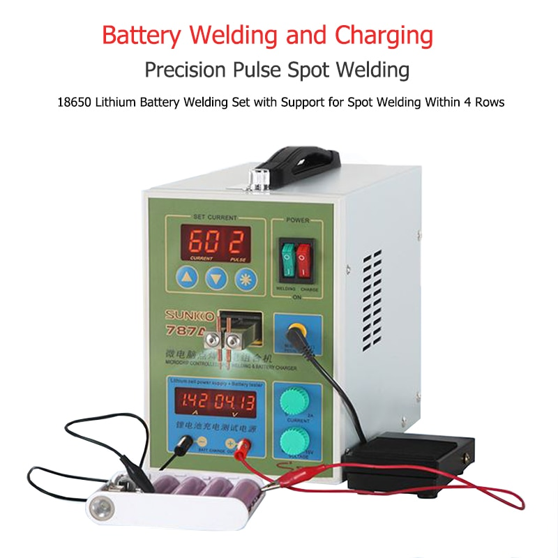 787A+ Spot Welder 18650 lithium battery test and charging 2in1 double pulse precision welding machine LED lighting 220V