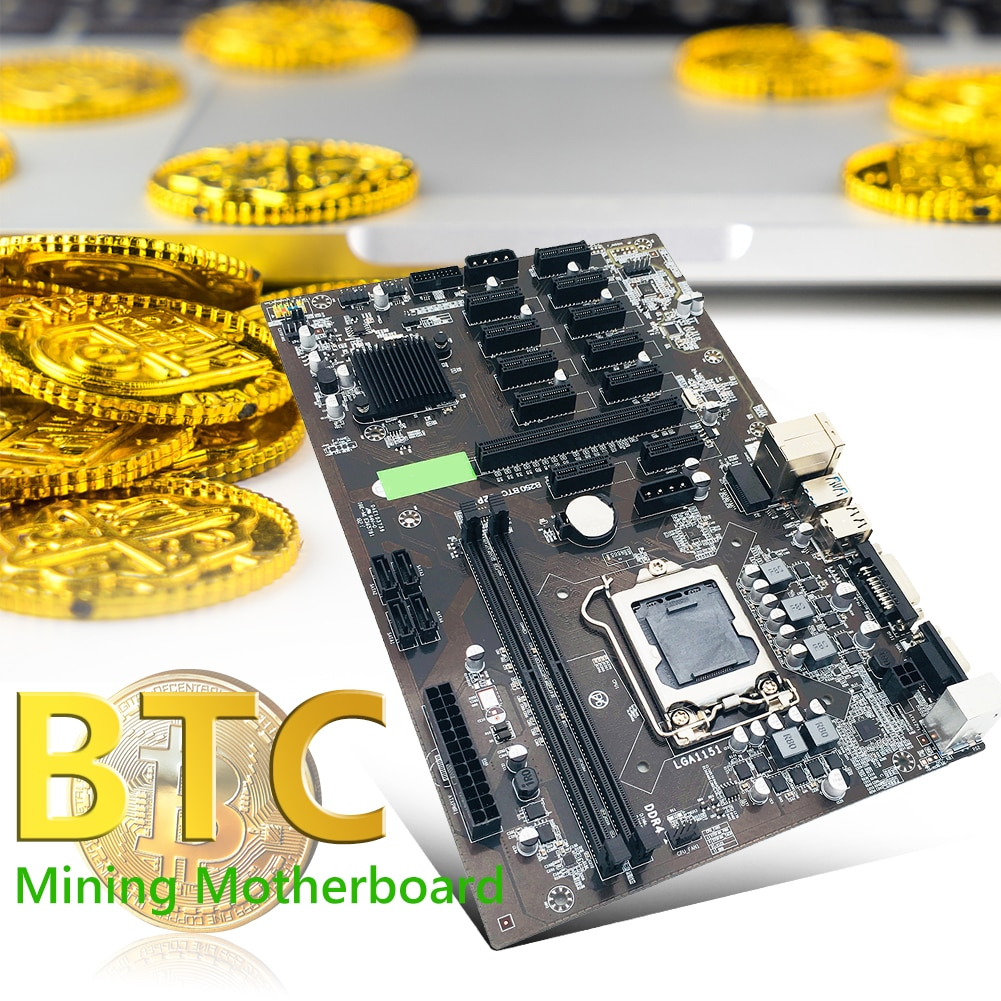 12X PCIE Graphics Card Slot Miner Motherboard Graphics Card Slot B250 Motherboard DDR4 SATA3.0 BTC Mining Motherboard