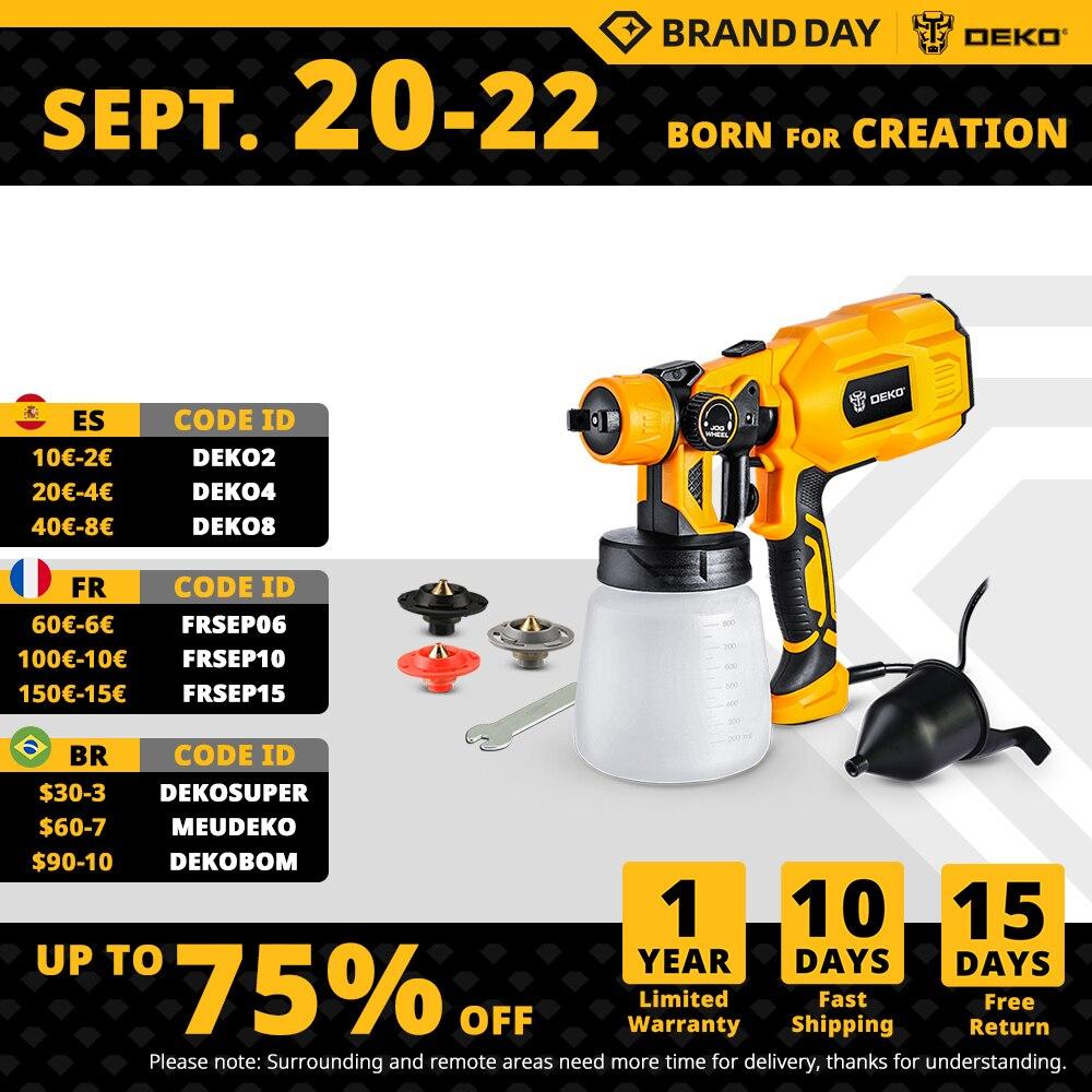 DEKO  Electric Handheld Spray Gun, 3 Nozzle Sizes,HVLP Spay Gun,For Painting Wood ,Furniture, Wall,Easy Spraying by DKSG55K1
