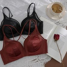 Women's Underwear Small Chest Push up Wireless Red Bra Beauty Back Support Adjustable Birth Year Sea