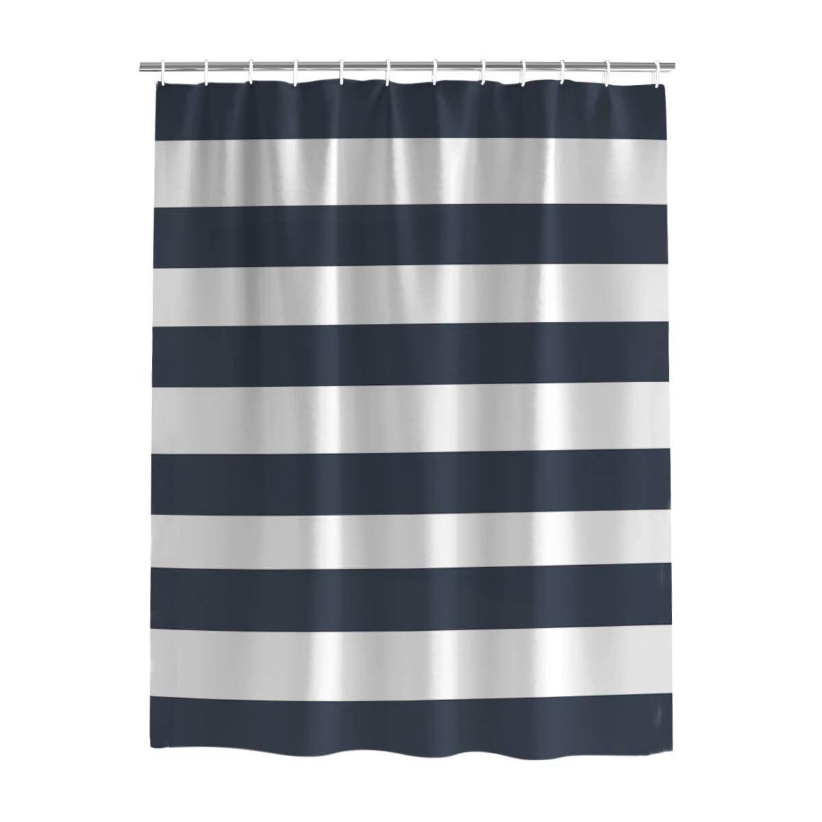 Conjunto de cortina de ducha de baño de tela de galería de arte con ganchos para Navidad, cortinas azules y blancas con patrón de rayas para cuarto de baño