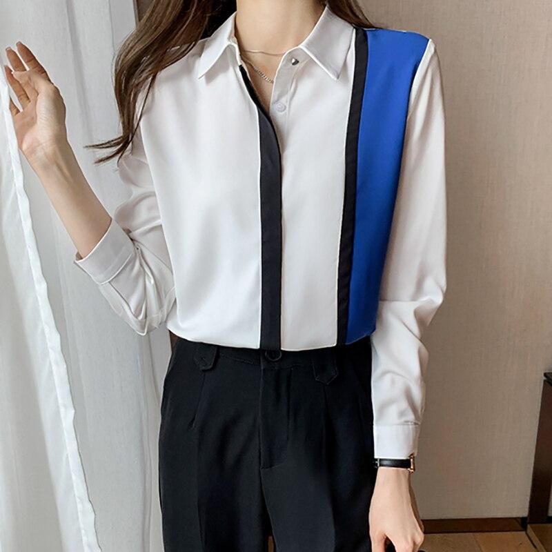 Shintimes 2021 Striped Patchwork Shirt Woman Contrast Color Blouse Women Long Sleeve Button Chiffon Ladies Tops Korean Clothes