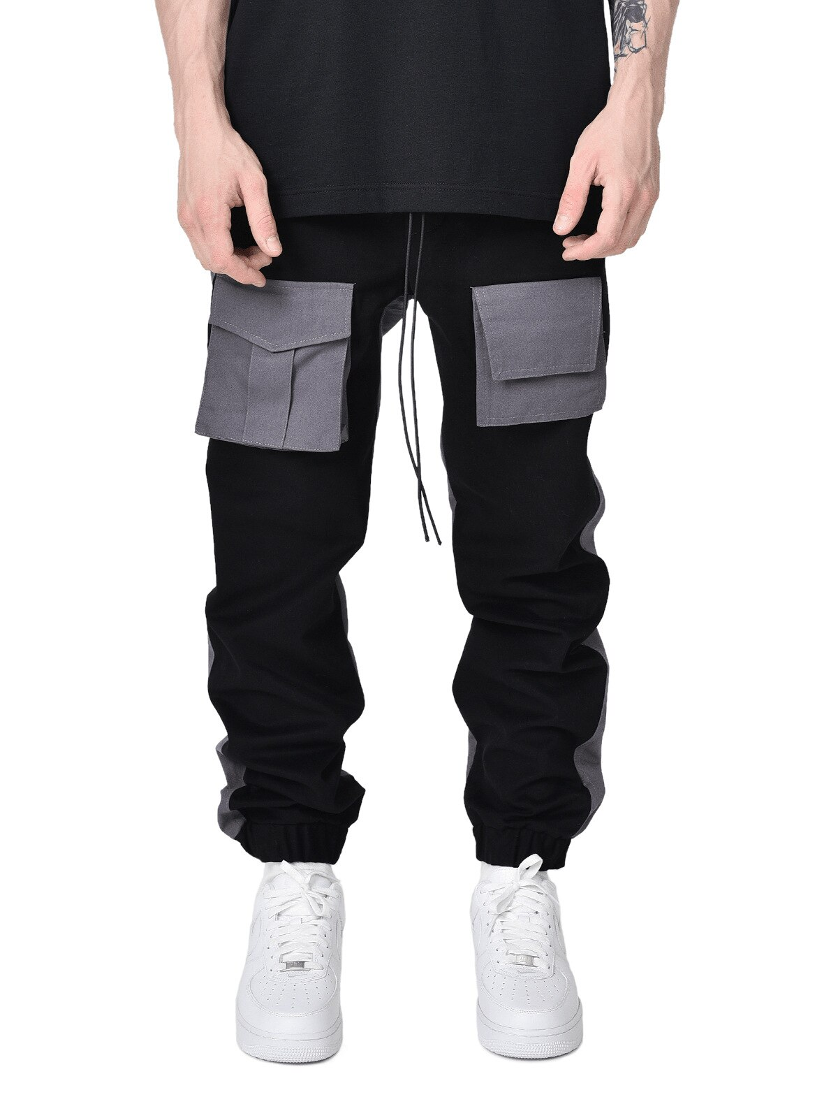 New Autumn Men Pants Hip Hop Harem Joggers Pants Male Trousers Mens Solid Multi-pocket Cargo Pants Skinny Fit Sweatpants 2020