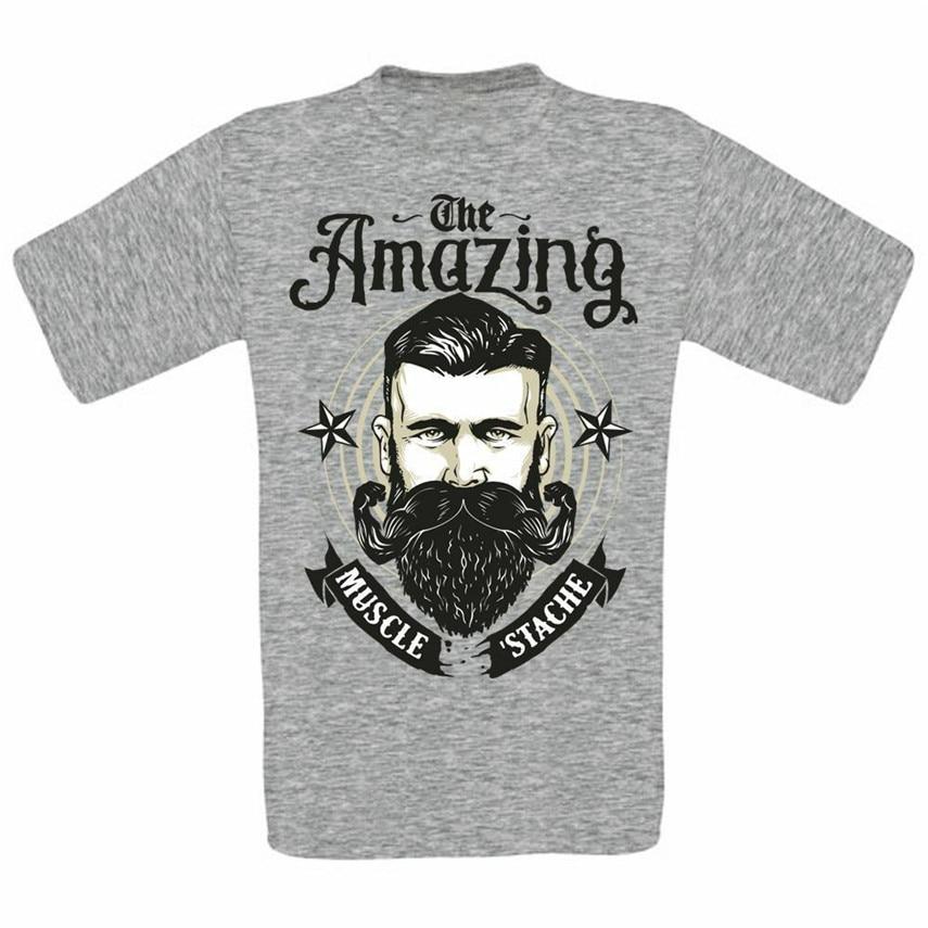 El asombroso movimiento musculoso tachas bigote barba Mashup arte DIGITAL camiseta de moda camiseta