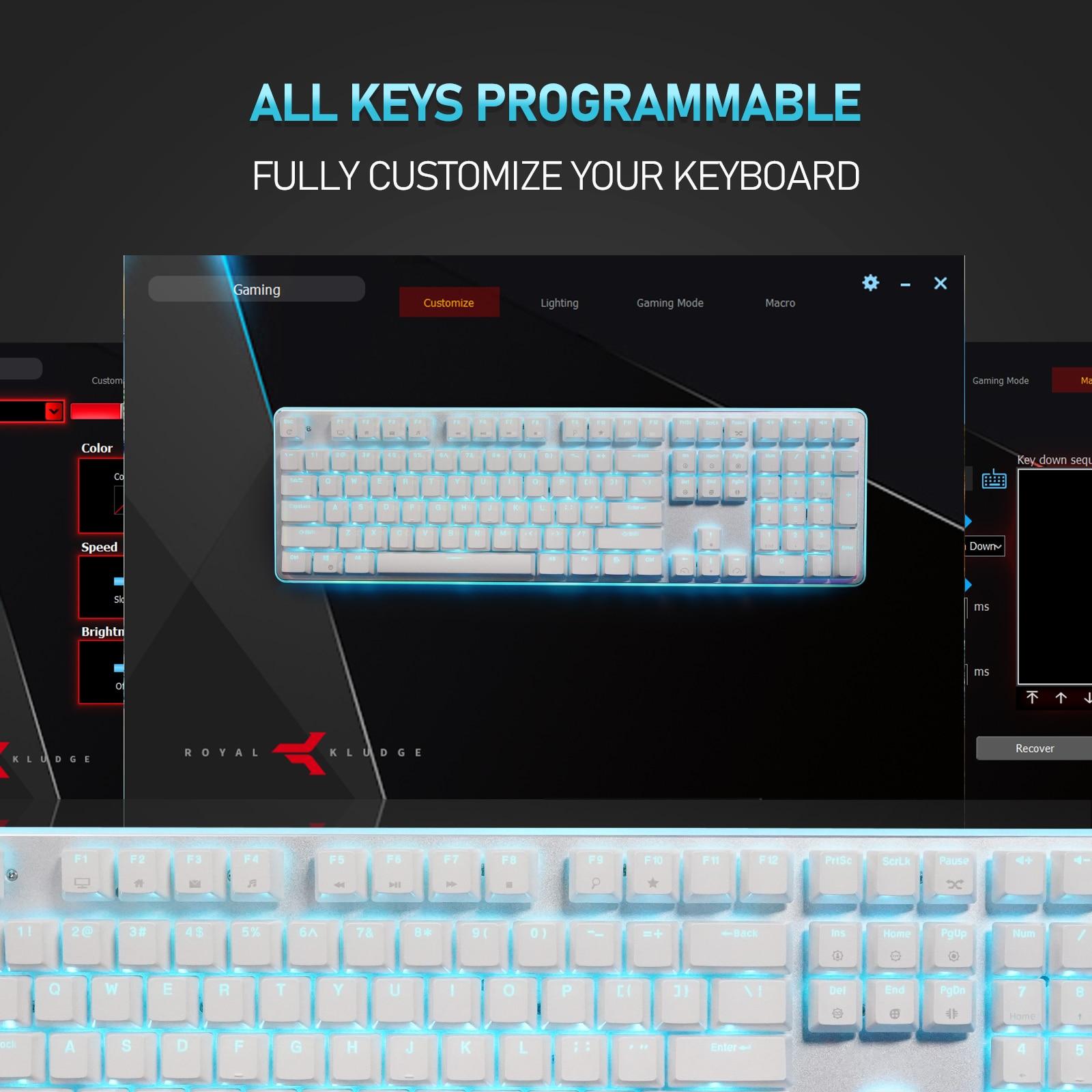 Official Original RK918 Wired Mechanical Keyboard, RGB Backlit Gaming Keyboard with Large LED Sorrounding Side Lamp,108 Keys