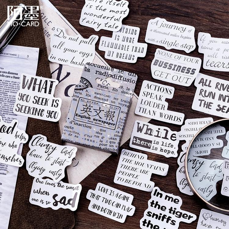 Papel de Jornal inglês Stickers Set Decorativa Papelaria Etiquetas Scrapbooking DIY Álbum Diário Vara Lable