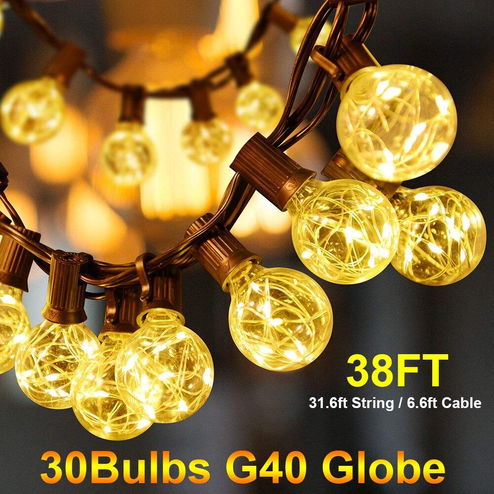 38Ft G40 bombilla globo Luz de cadena con 30 bolas transparentes Patio luces Vintage bombillas para exterior Navidad guirnalda fiesta D20