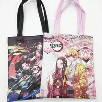 japanese anime ghost blade pu shoulder bag leather waterproof portable shopping bag student tutorial bag
