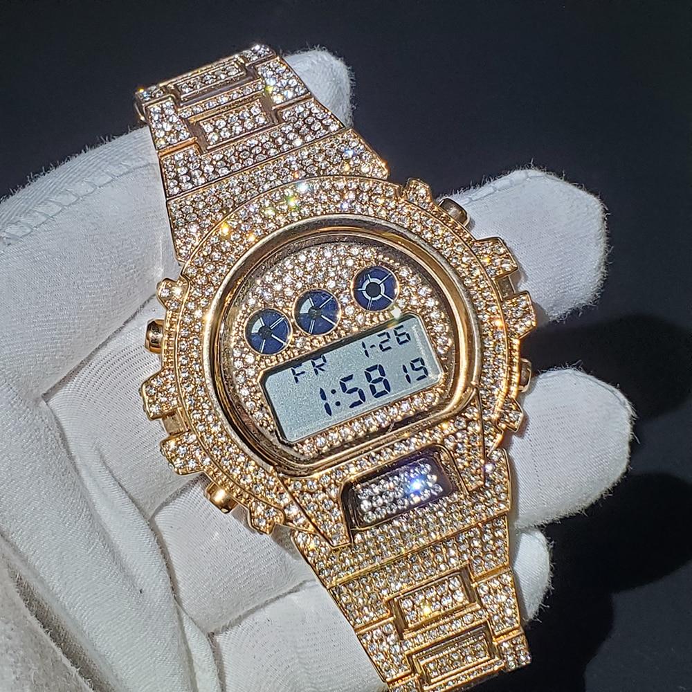 Часы наручные MISSFOX Мужские Цифровые, водонепроницаемые Роскошные, полностью из розового золота с бриллиантами, с G-Shock, стальные