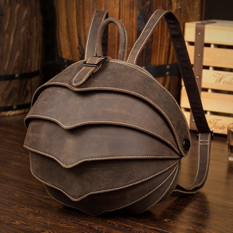 حقيبة ظهر مصنوعة يدويًا من الجلد بتصميم فريد من نوعه على طراز الخنافس على الظهر للرجال والنساء للجنسين على الموضة حقائب ظهر جديدة لصيف 2020