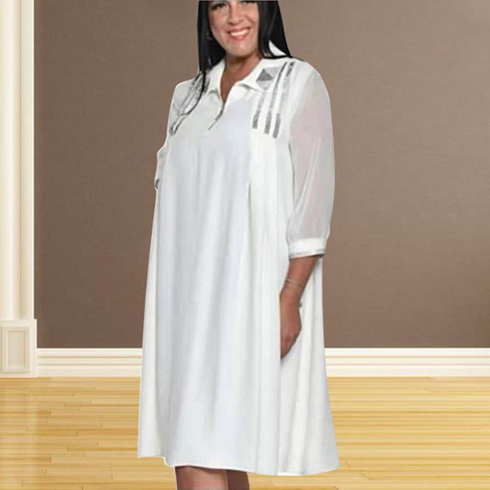 Plus Size Shirt Dress Women 2021 Spring Summer Half Sleeve Solid Loose Zippers Turn-down Collar Long Dresses Sundress