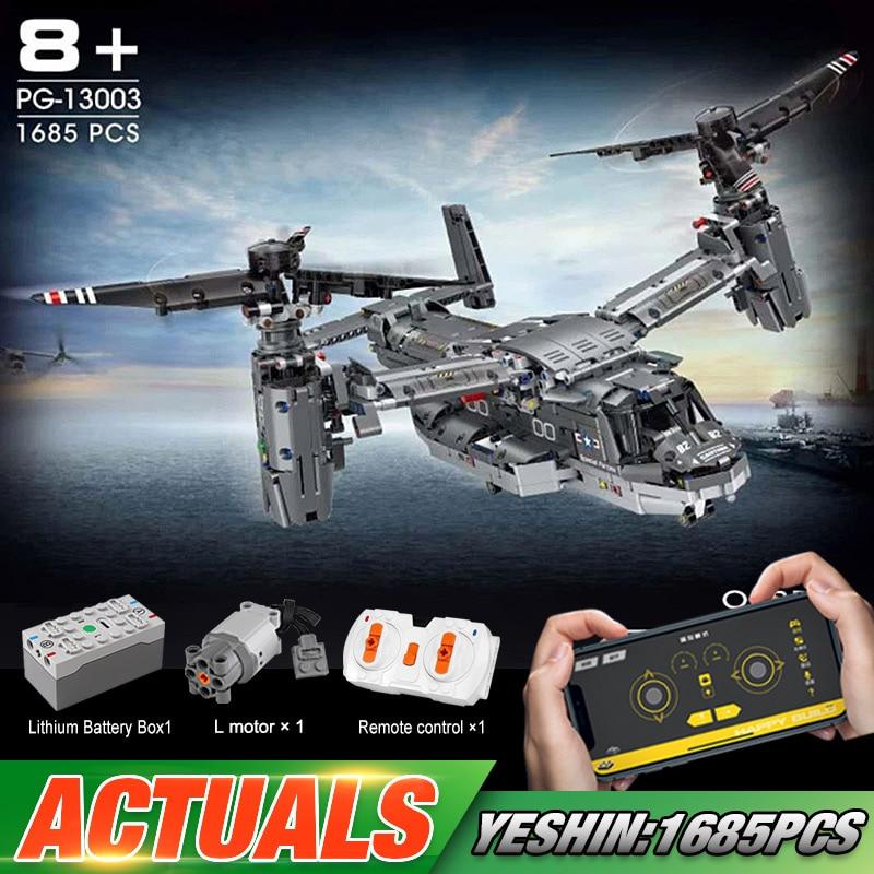 Yeshin PG13003 High-Tech Car Toys The 42113 APP RC Motorized V-22 Osprey Airplane Model Building Blo