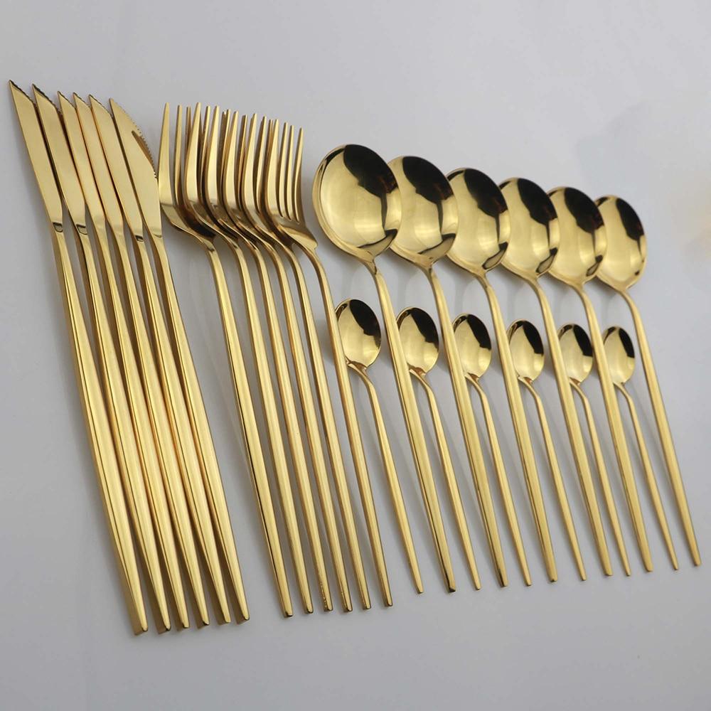 24pcs Gold Dinnerware Set Stainless Steel Tableware Set Knife Fork Spoon Flatware Set Dishwasher Safe Cutlery Set
