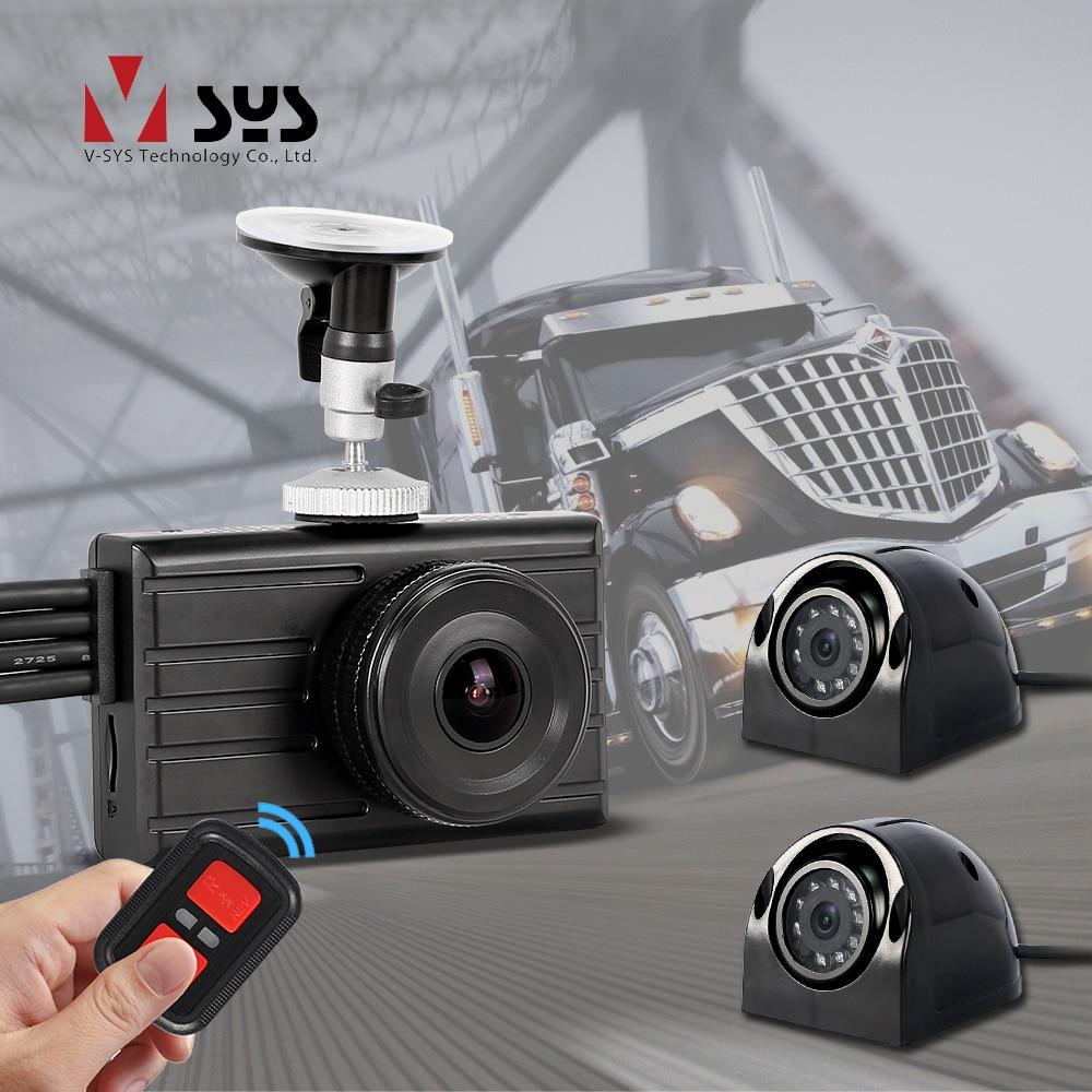 SYS 3CH 1080P camión DVR cámara de salpicadero 3,0 Monitor con visión nocturna IR impermeable camión cámara de respaldo 360 vista trasera para coche autobús