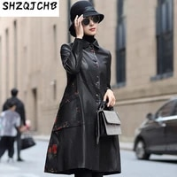 shzq 2021 spring sheepskin silk silk windbreaker coat fashion leather womens middle and long style
