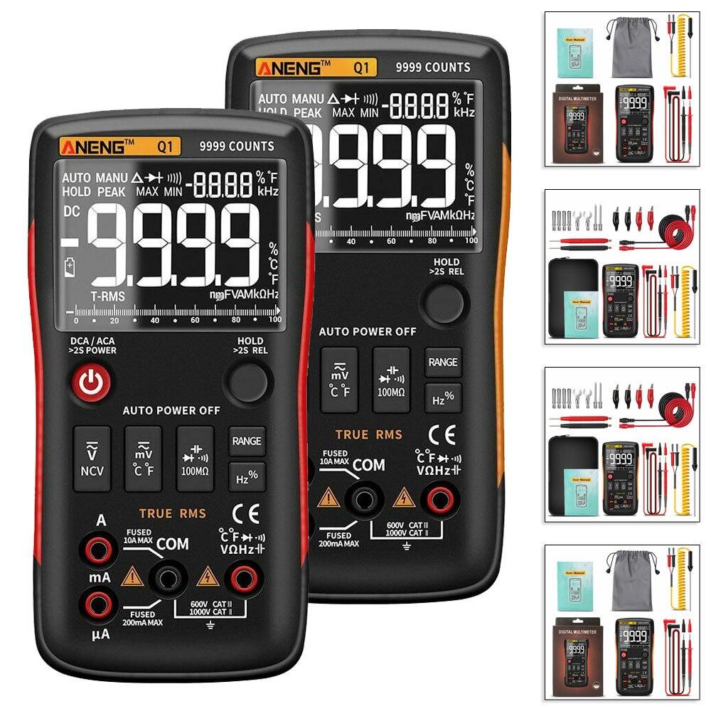مقياس رقمي متعدد 9999 اختبار تناظري صحيح RMS المهنية متعدد مترو ANENG Q1 متعدد مع حقيبة التخزين