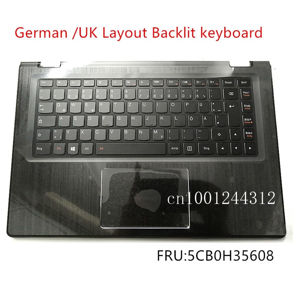 غطاء لوحة المفاتيح ، مسند المعصم ، لوحة اللمس ، ألماني ، أصلي ، جديد ، لجهاز Lenovo Yoga 3-14 3-1470 YOGA 700-14ISK ، 5CB0H35608